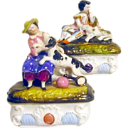 PR Conta & Boehm Pin / Trinket Boxes Children w Dogs