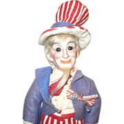 10 Inch 1896 Bisque Head Uncle Sam Portrait Doll by Cuno and Otto Dressel