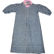 Darkest Indigo Check Milled Homespun Dress for China or Papier-mache