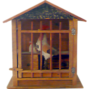 7.5 Inch German Red Roof Litho Paper Over Wood Chicken Coop with Pop Out Rooster and Setting Hen