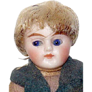 3.5 Inch Slender All Bisque German Doll House Boy Cobalt Glass Eyes Original Wig Costume