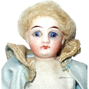 4.75 Inch Bisque Head Boy Cobalt Eyes Closed Mouth Factory Original Curl Blond Mohair Wig  5 Piece Composition Body Sailor Costume