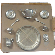 Tiny Pewter Classical Style Tea Set Tied to Original Card Partial Box Tray Teapot Lid Creamer 2 Cups Saucers Spoons
