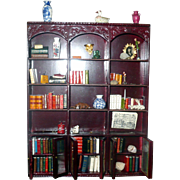 Miniature Artisan Georgian Style Mahogany Wood Bookcase Man's  Library Books Porcelain Pieces  Natural  Wonders