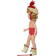 Vintage Red Top Ivory Oil Cloth Majorette Boots Knitted Ivory w Red Hat Red Tap Pants and Red with Gold Baton for 14 Inch Composition or HP Mary Hoyer