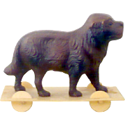 """Old Doll Size  2.5"""" Long Celluloid Brown Spaniel Dog and Cream Celluloid Platform with Wheels Pull Toy"""