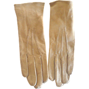 "Fine Pair of Edwardian Carmel Glazed Kid 6.25"" Gloves Welted Edges and Tops Fancy Wrist Snap"