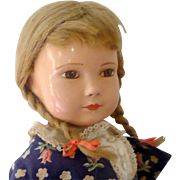 """Endearing 19"""" Composition Effanbee American Child Blond Pig Tails Brown Painted Eyes Body Crazing Nice Face Play Suit Designed by Dewees Cochran"""