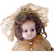 """15/16"""" Wax Over or Reinforced Wax Shoulder Head Brown Paperweight Eyes Red France Stamp on Head and on Kid Fashion Body - Red Tag Sale Item"""