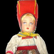 Fine 16 Inch Lucia Face Lenci Girl in Traditional Sami Regional Finnish Costume Silver Cardboard Tag and Cloth Ribbon Fresh Colors Crisp Costume