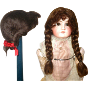 2 Vintage Brunette Synthetic Mohair Braided Wigs for Small Dolls