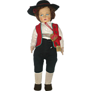 Fine 1930's Lenci 300 Series Boy In South American Gaucho Costume 2 Tags Bright Colors All Original