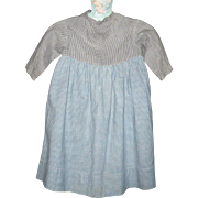Prim Pennsylvania 2 Tone Linen Girl's Farm Dress Sky Blue Home Spun Check Skirt Black Check Gingham Top