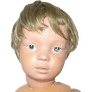 14.5 Inch Solemn Face Schoenhut 14/301 Character Blue Intaglio Eyes Worn Schoenhut Wig Schoenhut Decal No Repaint  in Union Suit