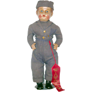18 Inch  Composition or Pottery Head Boy Doll in Blue Military Fatigues and Over Seas Cap All Original Ribbon Winner