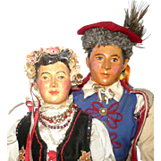 1939 WPA Pair of Composition Polish Portrait Dolls in Krakow Traditional Folk Costume
