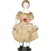 6 Inch German Bisque SH Doll House Lady Molded Bun Original Costume Molded Boots Heels