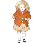 19th Century 3.75 Inch All Bisque Doll House Girl Wire Jointed Shoulders and Hips Glass Eyes Original Wig Costume