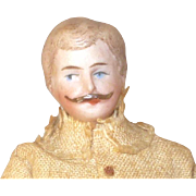 Pending Sale +++++++5.5 Inch 1900 German Doll House Man Molded Mustache Original Linen Duster and Pants