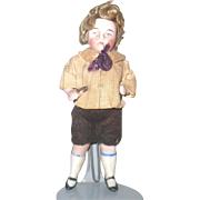 3.75 Inch 1900 German All Bisque Doll House Boy Original Costume and Curly Wig