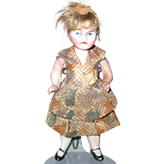 3.5 Inch All Bisque Doll House Girl Wire Jointed Hips and Shoulders Painted Eyes Original Wig and Costume
