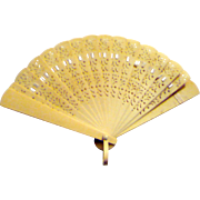 Old Pierced Celluloid Folding Fan with Finger Loop for Large Doll
