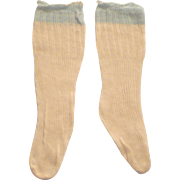 Old Store Stock Ivory Open Weave Ribbed Knit Doll Stockings with Blue Tops for Large Doll