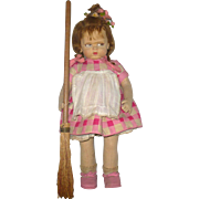 "1920's Lenci 1500 Series 19"" Grumpy Girl with Broom Lenci Cardboard Label 3 Flower Tied Braids and Wispy Bangs"
