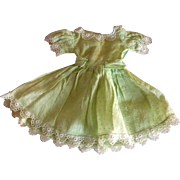 1940's Celery Green Dotted Swiss Dress Attached Sash Butterfly Bow Back for Girl Doll