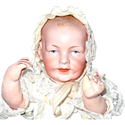Scarce 9 Inch Franz Schmidt Character Baby Mold 1267 Fine Bisque Lavish Layered Christening Gown and Bonnet