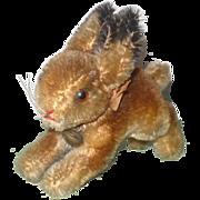 1950's/60's Steiff 4 Inch Running Rabbit Raised Script Button Original Neck Bow and Bell