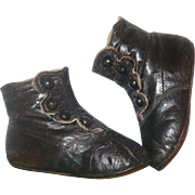 19th Century Black Kid 4 Button High Top Shoes Flat Soles