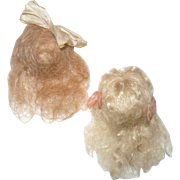 2 Vintage Tiny Blond Mohair Wigs with Bows for Mignonettes