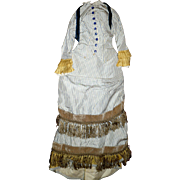 "2 Piece Carrie Hall Blue on Ivory Stripe Silk Like Doll Gown Gold Accents Back Interest for 27"" FG Mannequin French Fashion"