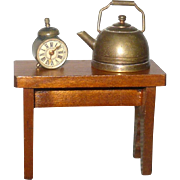 Antique Doll House Copper Water Kettle+Bench with Boot Jack Ends and Silver Tone Alarm Clock  Compass with Bell on Top