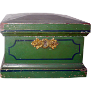 19th Century Chester Country PA Green Painted Trinket Box Indigo Striping Gold Initials Fancy Escutcheon Mirror
