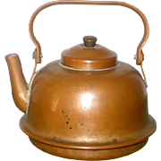 Miniature or Toy 19th century American Smith Made Copper Water Kettle Swing Handle Bottom Shaped for Wood Stove Burner