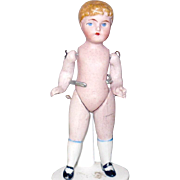 3.75 Inch Wire Jointed  German All Bisque Boy Blond Molded Hair Blue Painted Eyes One Strap Shoes with Heels