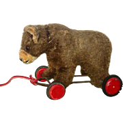 Vintage 6 Inch Brown Mohair Pull Toy Standing Bear on Red Wood Wheels Hump Amber Eyes Wear