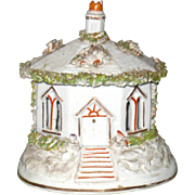 5 Inch Mid 19th Century Staffordshire Octagonal Cottage Pastille Burner Open Moss Cut Out Windows