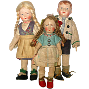 3 Little Bing Dolls 2 Wigged Girls 8 and 7 Inches and a Painted Hair 8 Inch Boy