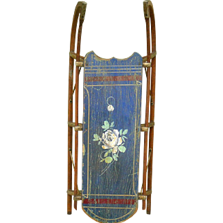19th Century Blue Painted Child's Clipper Sled with White Roses & Red Bands