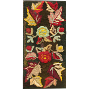 Vintage Linen Hooked Rug Bold Colors Maple Leaf & Roses