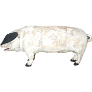 19th Century Toy 9 Inch Oinking White Painted Cloth Covered White Pig with Black Ears and Hoofs Amber Glass Eyes