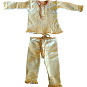 Old Doll or Salesman  Cream Cotton Knit 2 Piece Long Johns