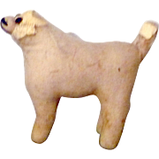 19th Century Amish Ivory Brushed Linen Straw Stuffed Dog Amber Glass Eyes