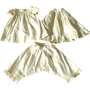 Beautiful 19th Century Hand Stitched Ivory Linen Shift Petticoat Pantaloon Set for Doll