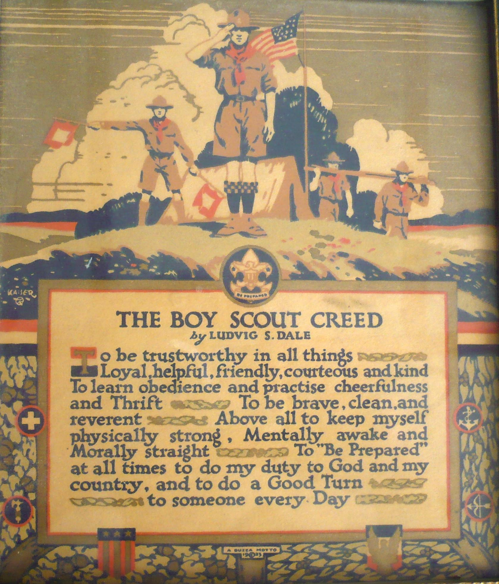 1923 Boy Scout Creed 7.5 Inch by 6.5 Inch Buzza Motto Print ...