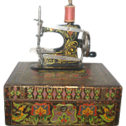 Fine Art Nouveau Toy German Made Sewing Machine in Presentation Box