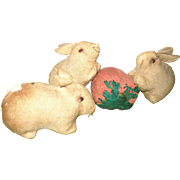 3 Wee Old Pennsylvania Amish Rabbits Bead Eyes Short Limbs with  Big Strawberry Pincushion